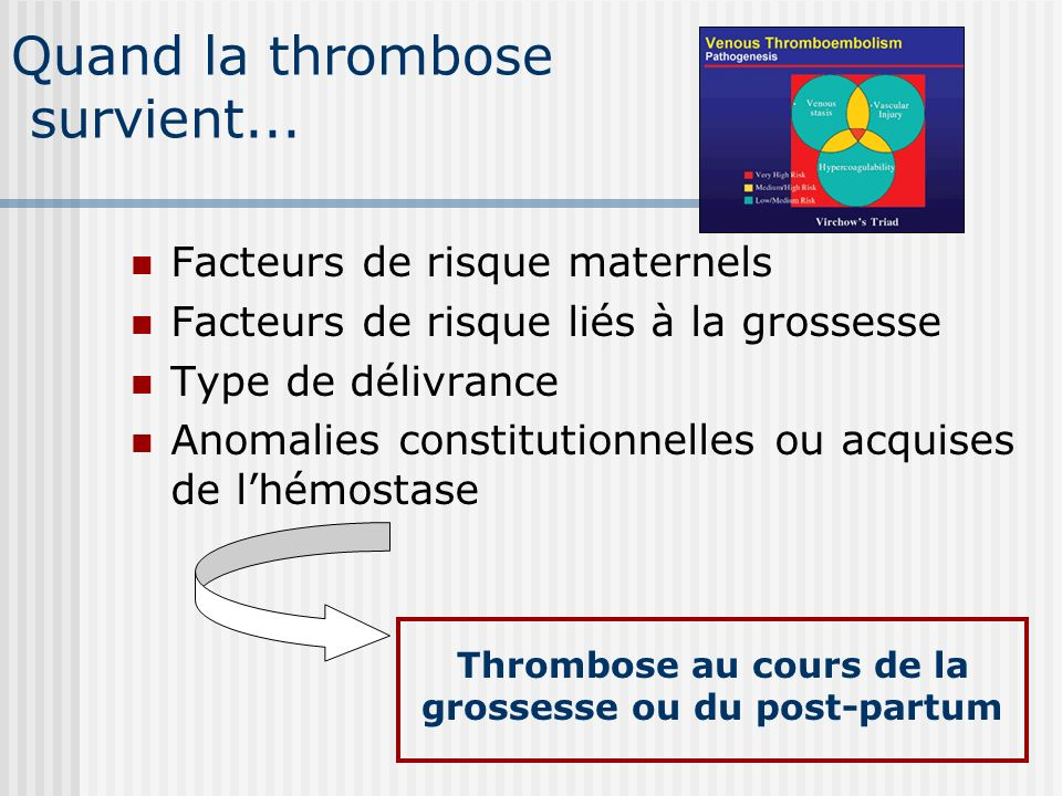 Quand la thrombose survient... Facteurs de risque maternels Facteurs de risque liés à la grossesse Type de délivrance Anomalies constitutionnelles ou