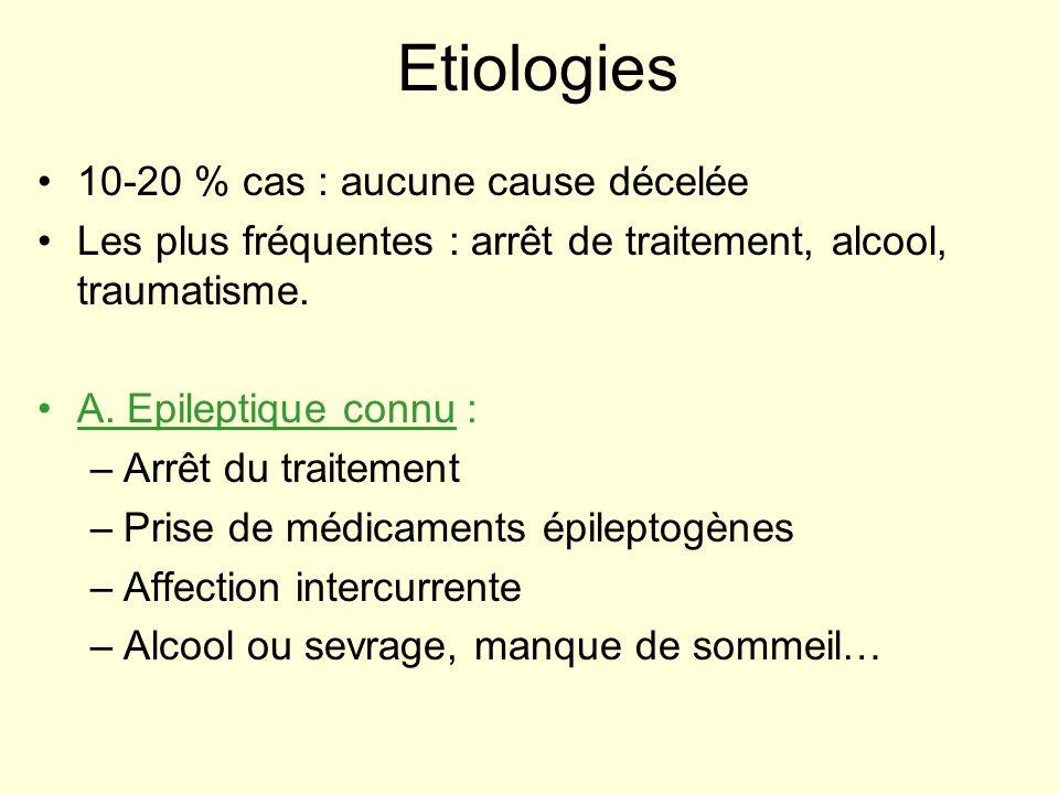 Etiologies 10-20 % cas : aucune cause décelée Les plus fréquentes : arrêt de traitement, alcool, traumatisme. A. Epileptique connu : –Arrêt du traitem