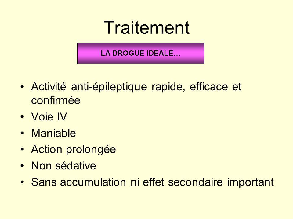 Traitement Activité anti-épileptique rapide, efficace et confirmée Voie IV Maniable Action prolongée Non sédative Sans accumulation ni effet secondair