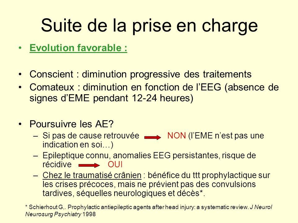 Suite de la prise en charge Evolution favorable : Conscient : diminution progressive des traitements Comateux : diminution en fonction de lEEG (absenc
