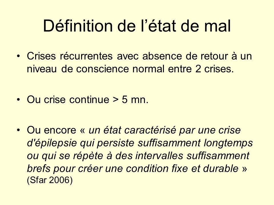 Définition de létat de mal Crises récurrentes avec absence de retour à un niveau de conscience normal entre 2 crises. Ou crise continue > 5 mn. Ou enc