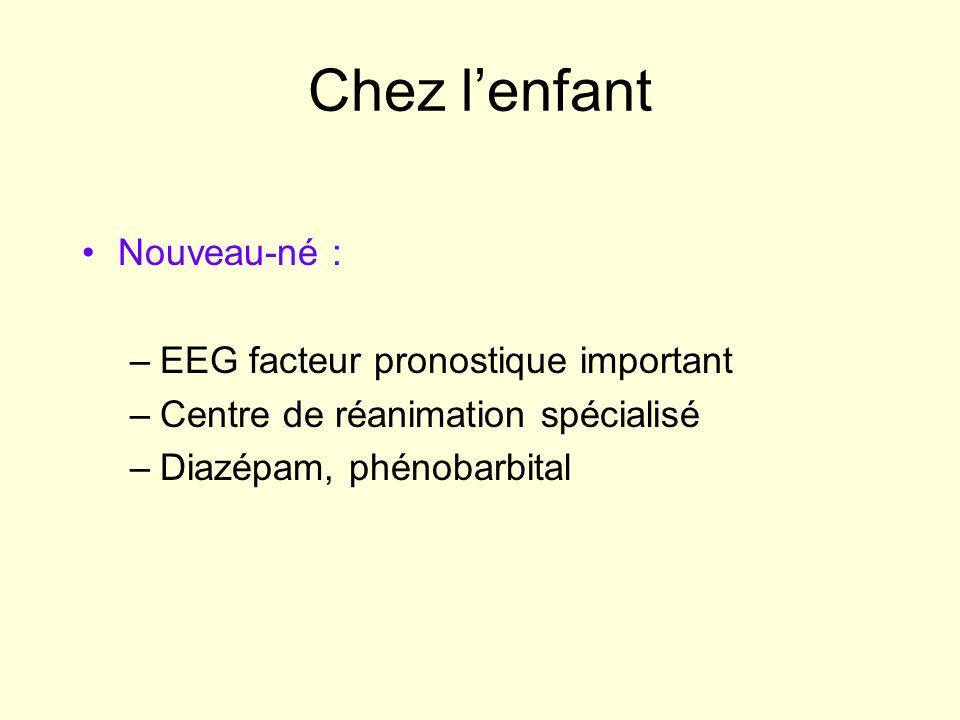 Chez lenfant Nouveau-né : –EEG facteur pronostique important –Centre de réanimation spécialisé –Diazépam, phénobarbital
