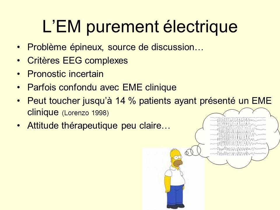 LEM purement électrique Problème épineux, source de discussion… Critères EEG complexes Pronostic incertain Parfois confondu avec EME clinique Peut tou