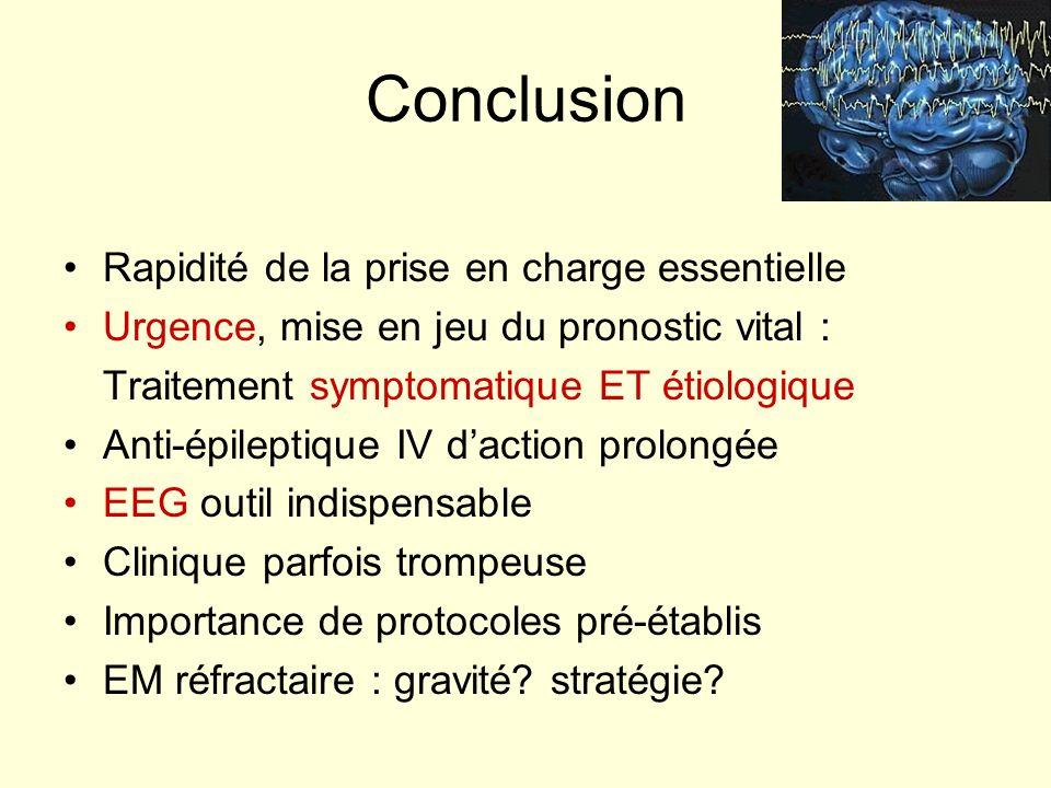 Conclusion Rapidité de la prise en charge essentielle Urgence, mise en jeu du pronostic vital : Traitement symptomatique ET étiologique Anti-épileptiq