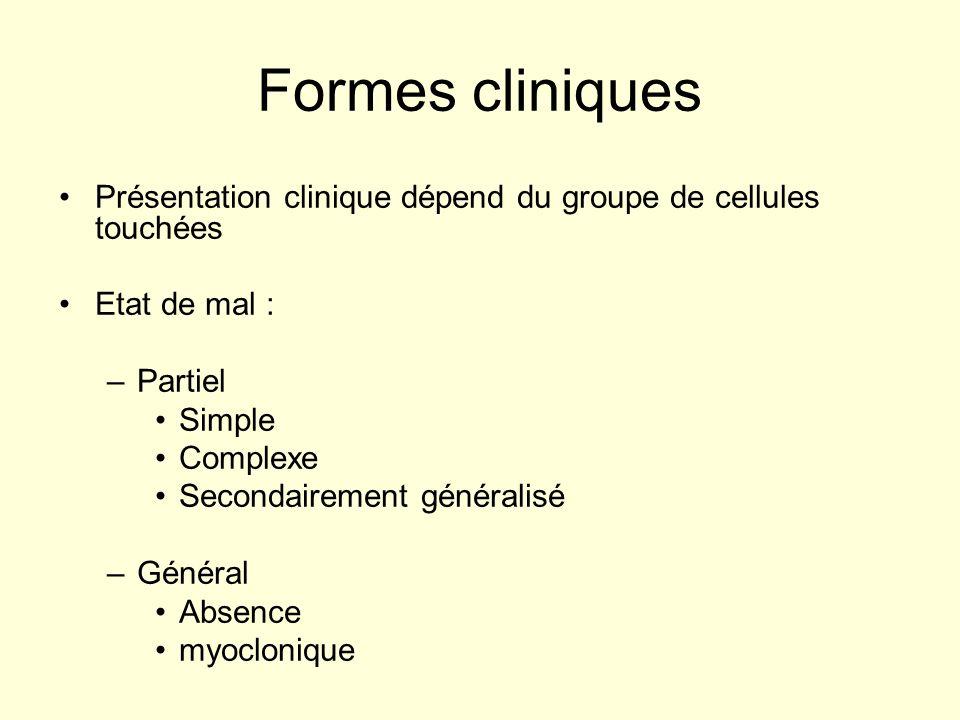 Formes cliniques Présentation clinique dépend du groupe de cellules touchées Etat de mal : –Partiel Simple Complexe Secondairement généralisé –Général