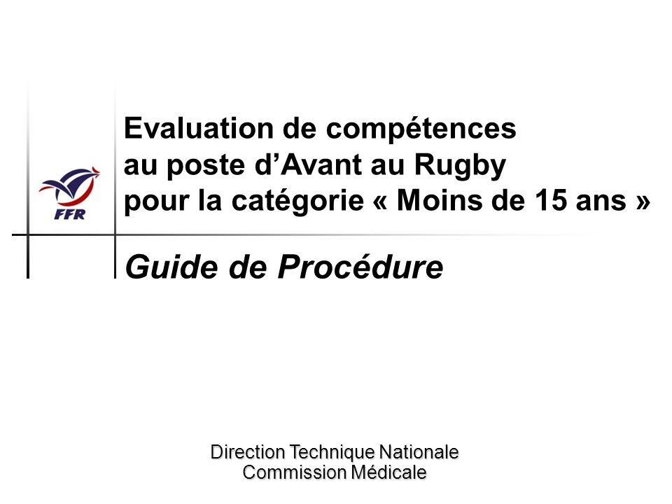 Procédure dévaluation des compétences au poste dAvant du joueur de Rugby M15 Objectif La procédure qui vous est proposée à travers ce guide est destinée à tout éducateur de Rugby, bénévole ou professionnel, soucieux dévaluer de manière objective, précise et simple les compétences au poste dAvant du jeune joueur de Rugby de la catégorie « Moins de 15 ans ».