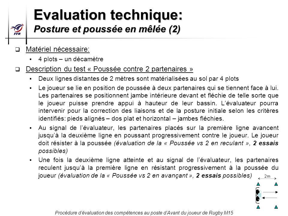 Procédure dévaluation des compétences au poste dAvant du joueur de Rugby M15 Evaluation technique: Posture et poussée en mêlée (2) Matériel nécessaire