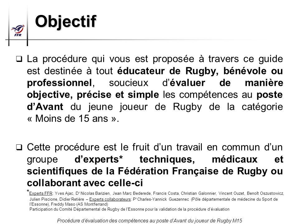 Procédure dévaluation des compétences au poste dAvant du joueur de Rugby M15 Objectif La procédure qui vous est proposée à travers ce guide est destin