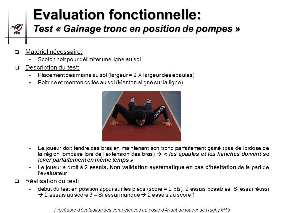 Procédure dévaluation des compétences au poste dAvant du joueur de Rugby M15 Evaluation fonctionnelle: Test « Gainage tronc en position de pompes » Ma