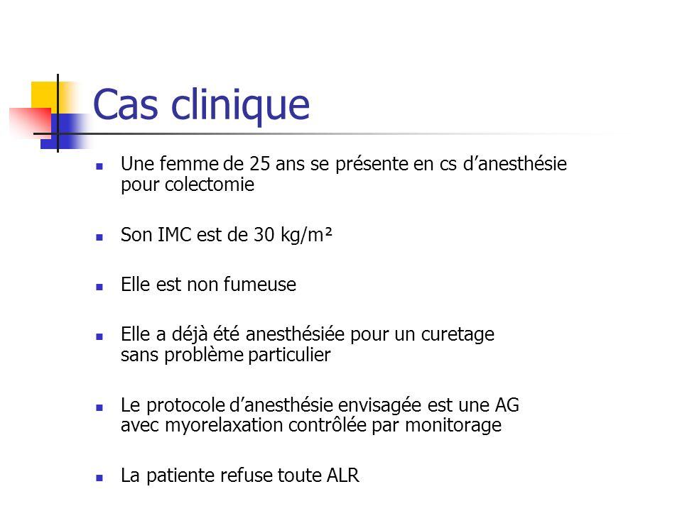 Cas clinique Une femme de 25 ans se présente en cs danesthésie pour colectomie Son IMC est de 30 kg/m² Elle est non fumeuse Elle a déjà été anesthésié