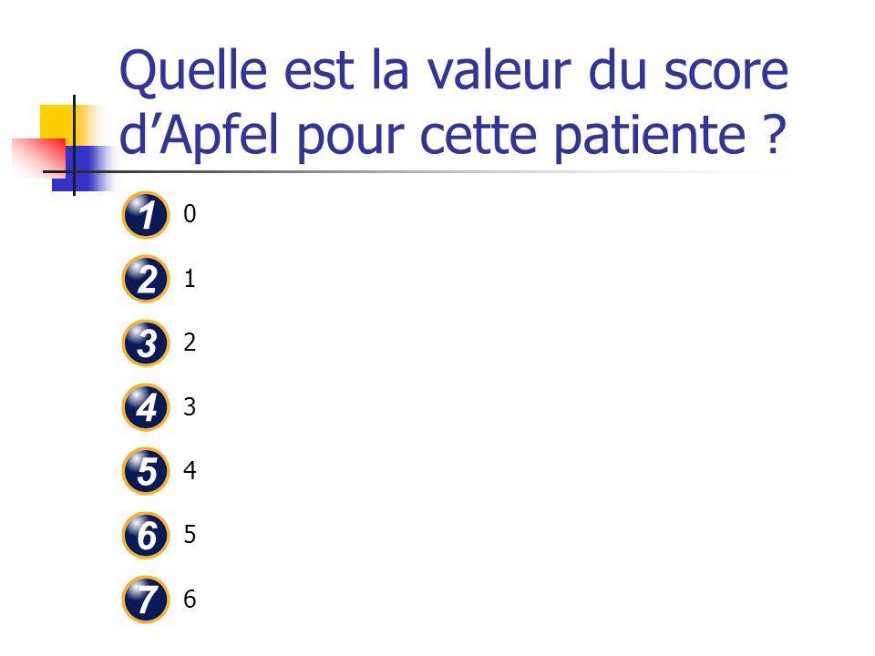 Quelle est la valeur du score dApfel pour cette patiente ? 01234560123456 1 2 3 4 5 6 7
