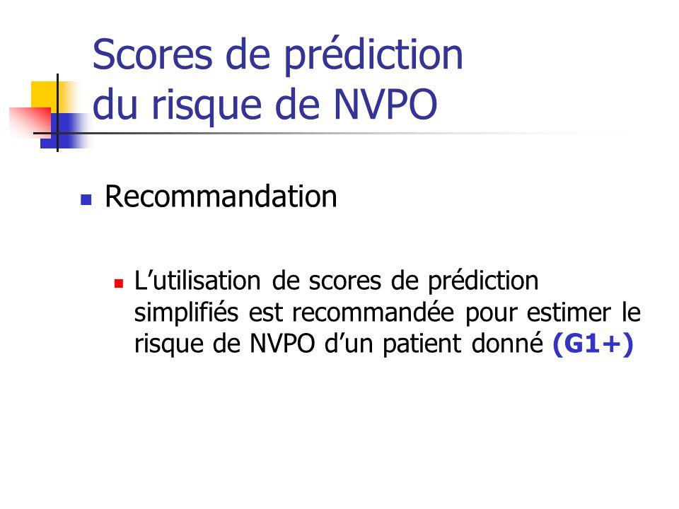 Scores de prédiction du risque de NVPO Recommandation Lutilisation de scores de prédiction simplifiés est recommandée pour estimer le risque de NVPO d