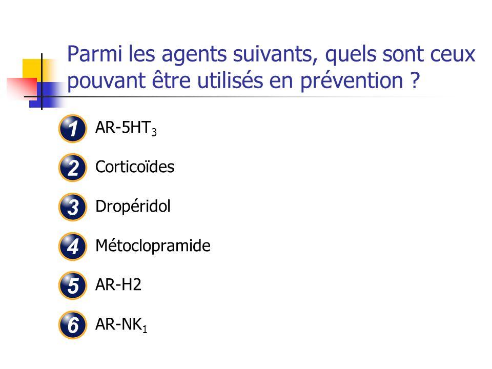 Parmi les agents suivants, quels sont ceux pouvant être utilisés en prévention ? AR-5HT 3 Corticoïdes Dropéridol Métoclopramide AR-H2 AR-NK 1 1 2 3 4