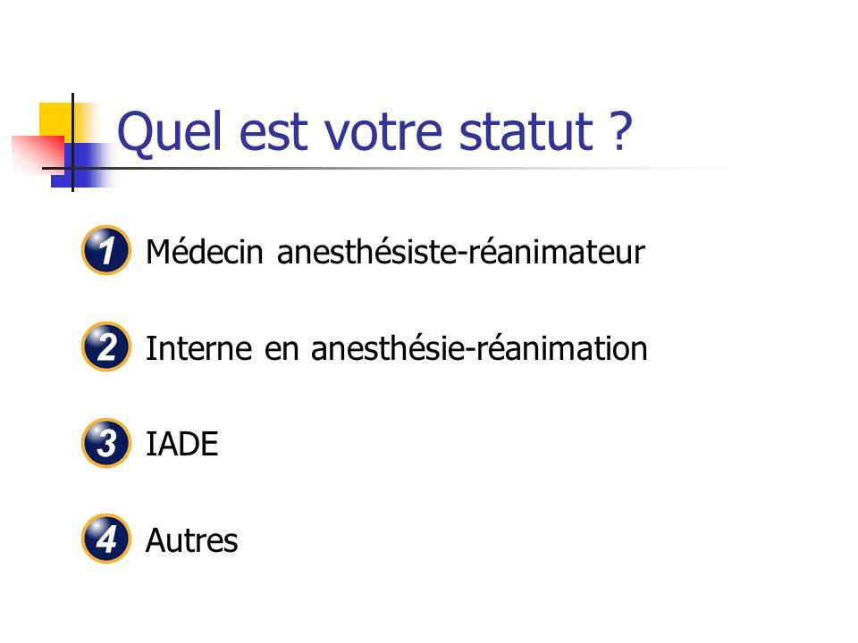 Quel est votre statut ? Médecin anesthésiste-réanimateur Interne en anesthésie-réanimation IADE Autres 1 2 3 4