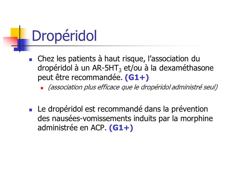 Dropéridol Chez les patients à haut risque, lassociation du dropéridol à un AR-5HT 3 et/ou à la dexaméthasone peut être recommandée. (G1+) (associatio