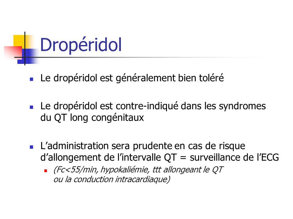 Dropéridol Le dropéridol est généralement bien toléré Le dropéridol est contre-indiqué dans les syndromes du QT long congénitaux Ladministration sera