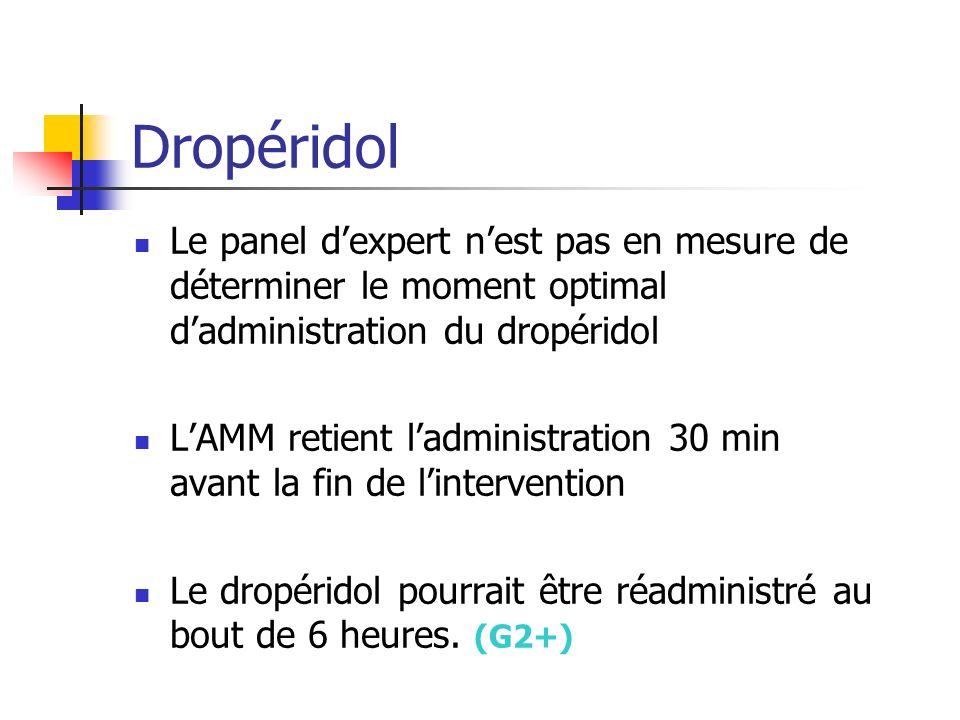 Dropéridol Le panel dexpert nest pas en mesure de déterminer le moment optimal dadministration du dropéridol LAMM retient ladministration 30 min avant