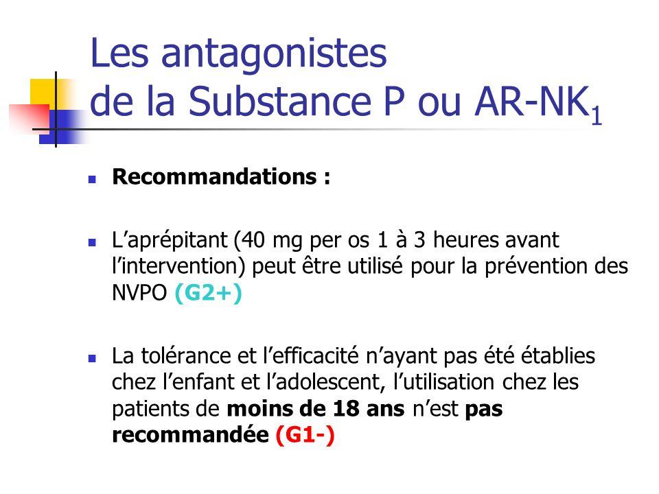 Les antagonistes de la Substance P ou AR-NK 1 Recommandations : Laprépitant (40 mg per os 1 à 3 heures avant lintervention) peut être utilisé pour la