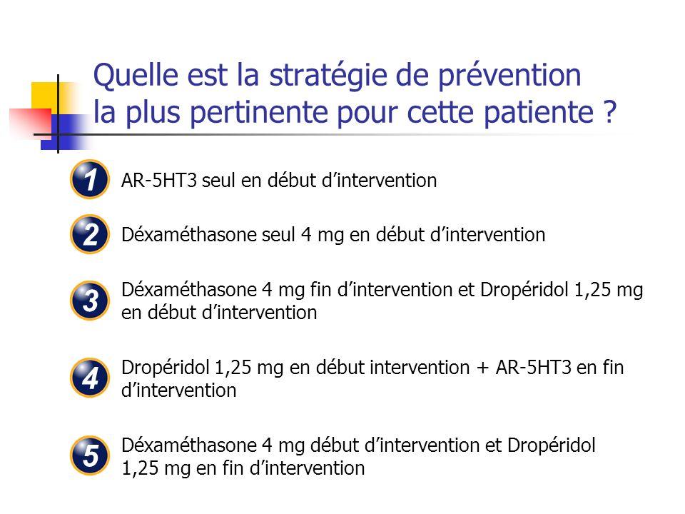 Quelle est la stratégie de prévention la plus pertinente pour cette patiente ? AR-5HT3 seul en début dintervention Déxaméthasone seul 4 mg en début di