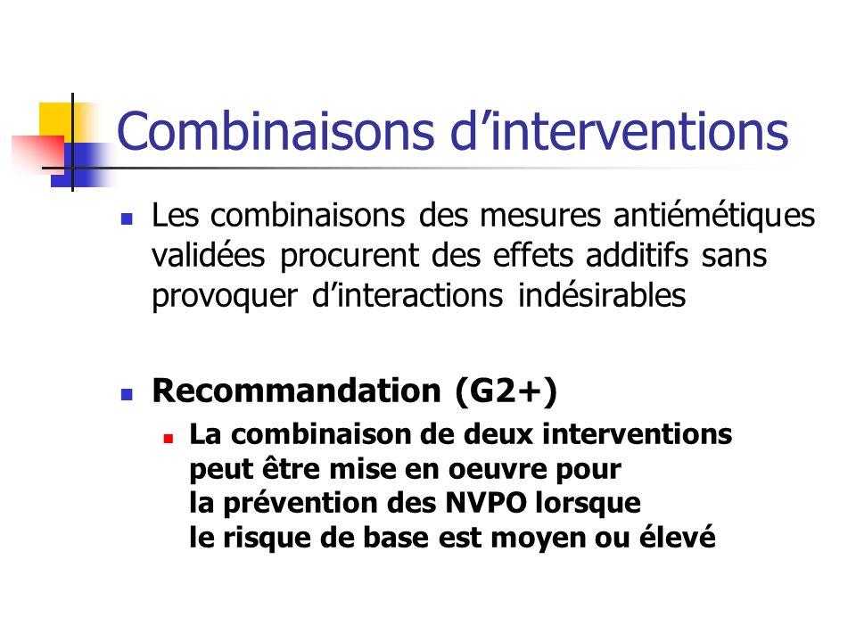 Combinaisons dinterventions Les combinaisons des mesures antiémétiques validées procurent des effets additifs sans provoquer dinteractions indésirable