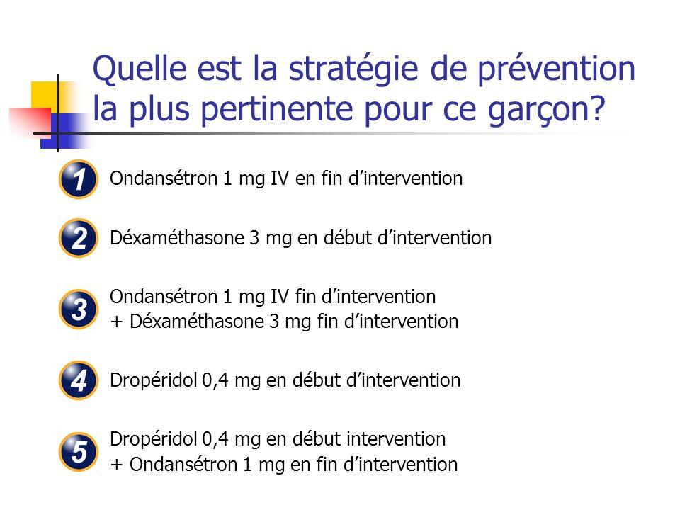 Quelle est la stratégie de prévention la plus pertinente pour ce garçon? Ondansétron 1 mg IV en fin dintervention Déxaméthasone 3 mg en début dinterve