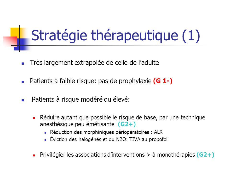 Stratégie thérapeutique (1) Très largement extrapolée de celle de ladulte Patients à faible risque: pas de prophylaxie (G 1-) Patients à risque modéré