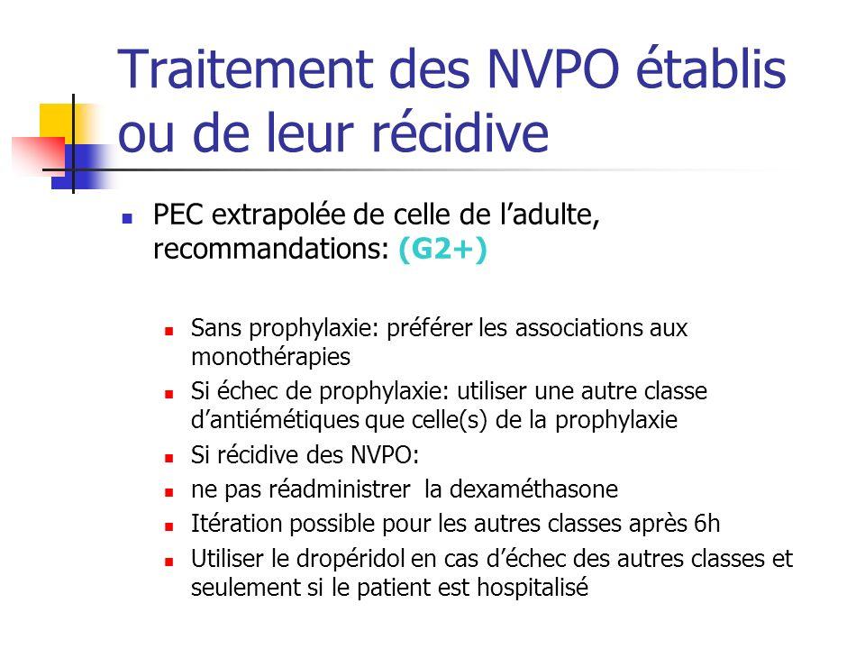 Traitement des NVPO établis ou de leur récidive PEC extrapolée de celle de ladulte, recommandations: (G2+) Sans prophylaxie: préférer les associations