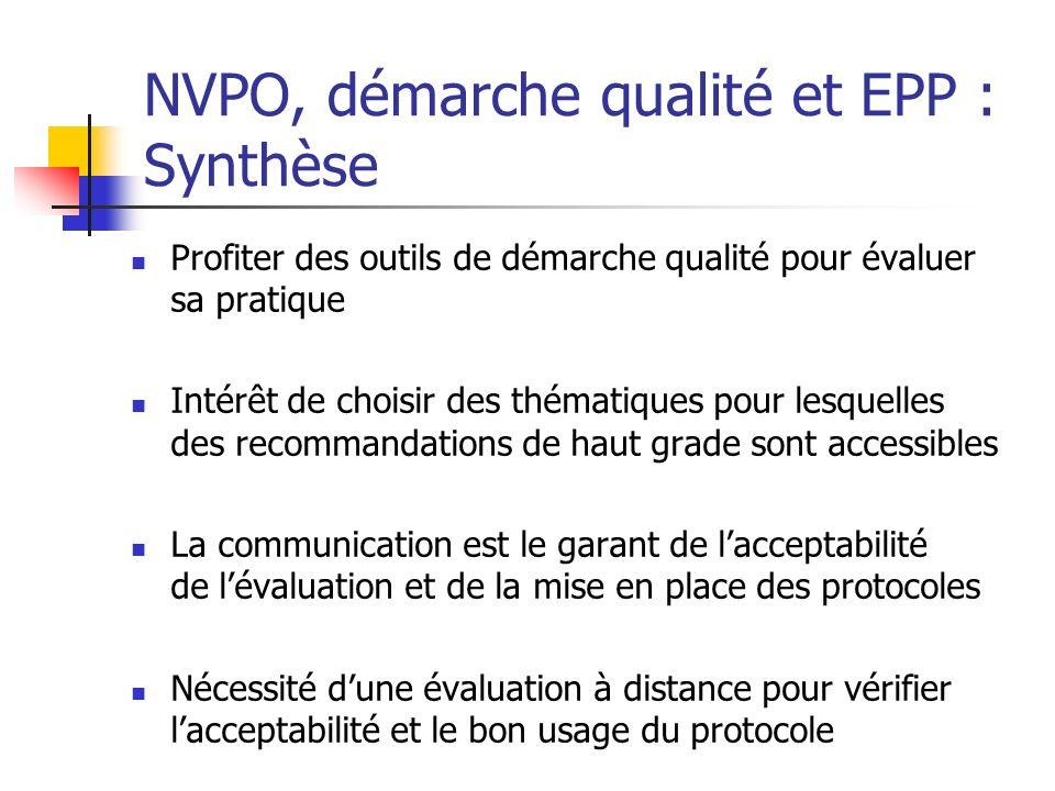NVPO, démarche qualité et EPP : Synthèse Profiter des outils de démarche qualité pour évaluer sa pratique Intérêt de choisir des thématiques pour lesq