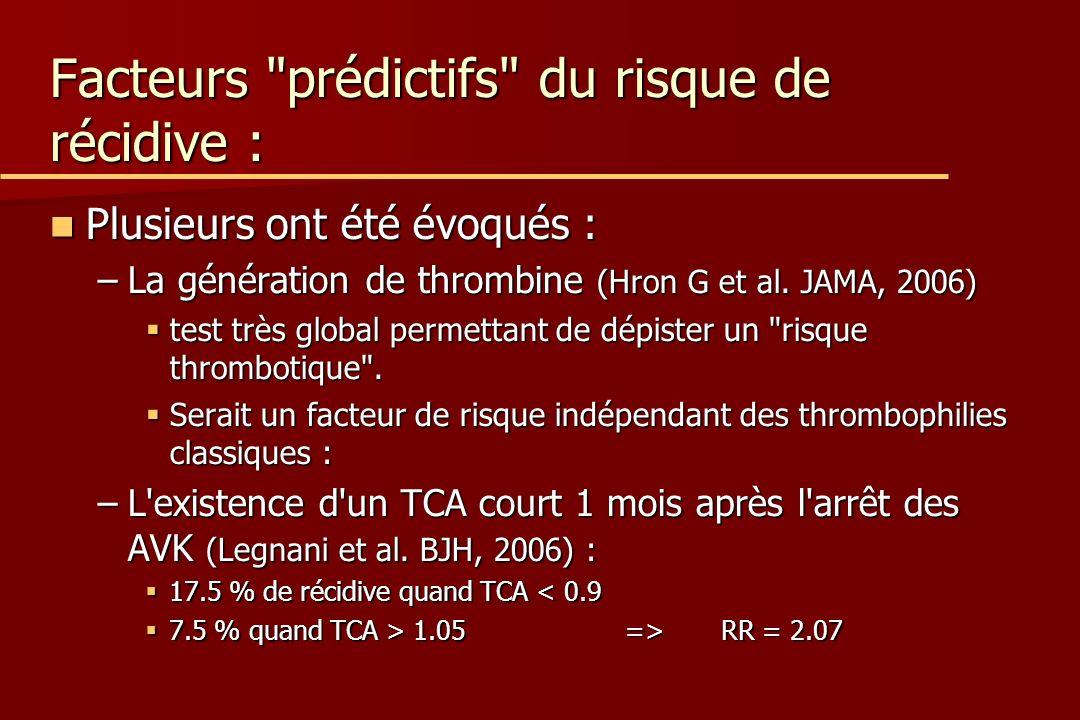 Facteurs prédictifs du risque de récidive : Plusieurs ont été évoqués : Plusieurs ont été évoqués : –La génération de thrombine (Hron G et al.