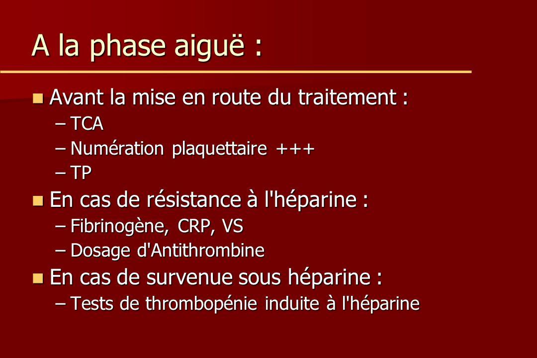 A la phase aiguë : Avant la mise en route du traitement : Avant la mise en route du traitement : –TCA –Numération plaquettaire +++ –TP En cas de résistance à l héparine : En cas de résistance à l héparine : –Fibrinogène, CRP, VS –Dosage d Antithrombine En cas de survenue sous héparine : En cas de survenue sous héparine : –Tests de thrombopénie induite à l héparine