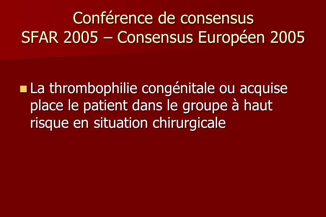 Conférence de consensus SFAR 2005 – Consensus Européen 2005 La thrombophilie congénitale ou acquise place le patient dans le groupe à haut risque en situation chirurgicale La thrombophilie congénitale ou acquise place le patient dans le groupe à haut risque en situation chirurgicale