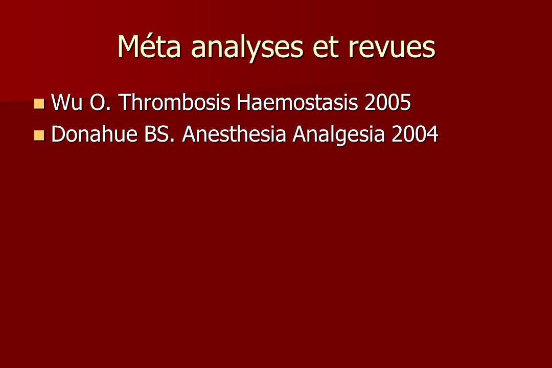 Méta analyses et revues Wu O. Thrombosis Haemostasis 2005 Wu O.