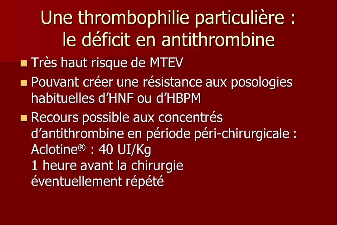 Une thrombophilie particulière : le déficit en antithrombine Très haut risque de MTEV Très haut risque de MTEV Pouvant créer une résistance aux posologies habituelles dHNF ou dHBPM Pouvant créer une résistance aux posologies habituelles dHNF ou dHBPM Recours possible aux concentrés dantithrombine en période péri-chirurgicale : Aclotine ® : 40 UI/Kg 1 heure avant la chirurgie éventuellement répété Recours possible aux concentrés dantithrombine en période péri-chirurgicale : Aclotine ® : 40 UI/Kg 1 heure avant la chirurgie éventuellement répété