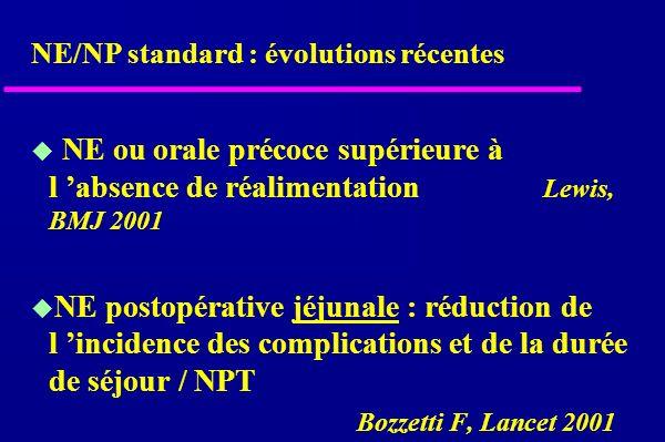 NE ou orale précoce supérieure à l absence de réalimentation Lewis, BMJ 2001 NE postopérative jéjunale : réduction de l incidence des complications et de la durée de séjour / NPT Bozzetti F, Lancet 2001 NE/NP standard : évolutions récentes