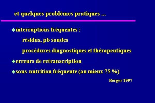 interruptions fréquentes : résidus, pb sondes procédures diagnostiques et thérapeutiques erreurs de retranscription sous-nutrition fréquente (au mieux 75 %) Berger 1997 et quelques problèmes pratiques...
