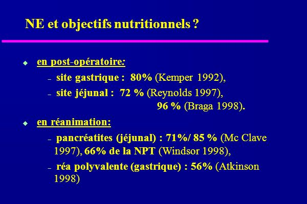 NE et objectifs nutritionnels .