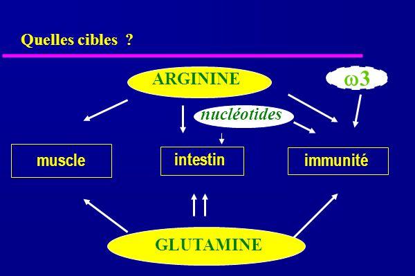 Quelles cibles muscle intestin immunité ARGININE GLUTAMINE 3 nucléotides
