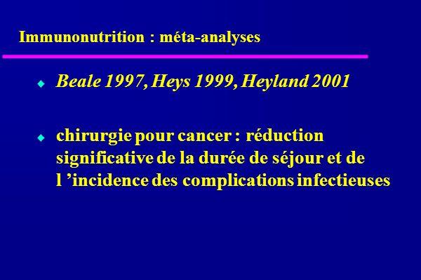 Immunonutrition : méta-analyses Beale 1997, Heys 1999, Heyland 2001 chirurgie pour cancer : réduction significative de la durée de séjour et de l incidence des complications infectieuses