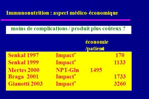 Immunonutrition : aspect médico-économique moins de complications / produit plus coûteux .
