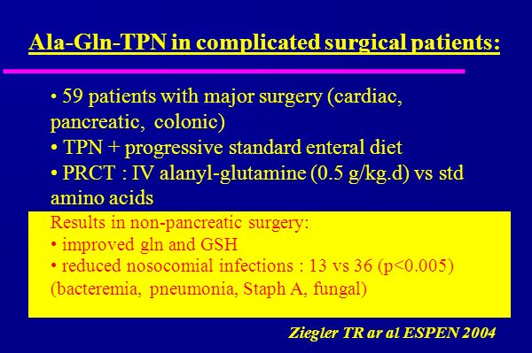 59 patients with major surgery (cardiac, pancreatic, colonic) TPN + progressive standard enteral diet PRCT : IV alanyl-glutamine (0.5 g/kg.d) vs std amino acids Results in non-pancreatic surgery: improved gln and GSH reduced nosocomial infections : 13 vs 36 (p<0.005) (bacteremia, pneumonia, Staph A, fungal) Ala-Gln-TPN in complicated surgical patients: Ziegler TR ar al ESPEN 2004