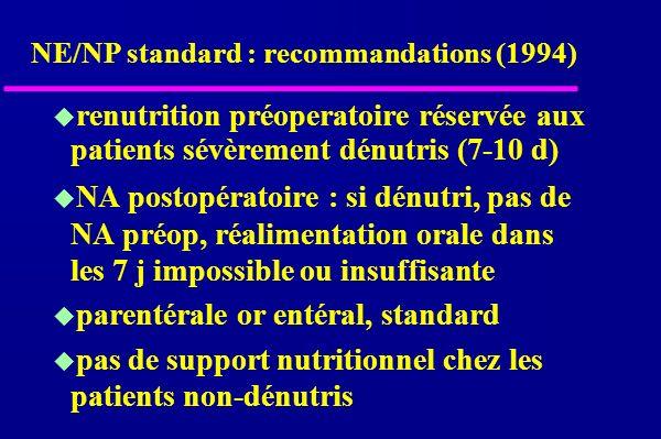NE/NP standard : recommandations (1994) renutrition préoperatoire réservée aux patients sévèrement dénutris (7-10 d) NA postopératoire : si dénutri, pas de NA préop, réalimentation orale dans les 7 j impossible ou insuffisante parentérale or entéral, standard pas de support nutritionnel chez les patients non-dénutris