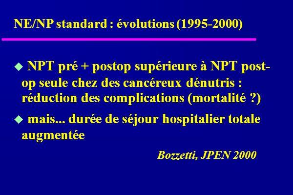 NPT pré + postop supérieure à NPT post- op seule chez des cancéreux dénutris : réduction des complications (mortalité ) mais...