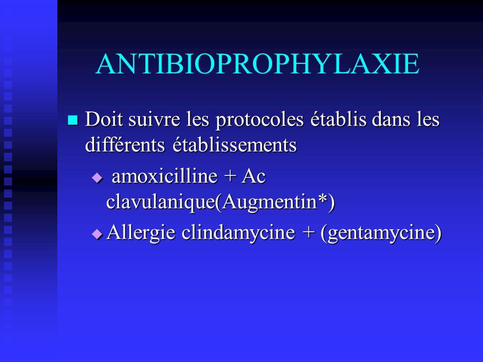 ANTIBIOPROPHYLAXIE Doit suivre les protocoles établis dans les différents établissements Doit suivre les protocoles établis dans les différents établi