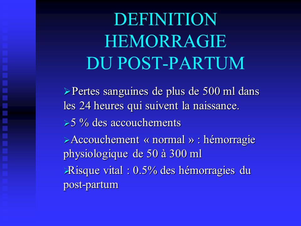 DEFINITION HEMORRAGIE DU POST-PARTUM Pertes sanguines de plus de 500 ml dans les 24 heures qui suivent la naissance. Pertes sanguines de plus de 500 m