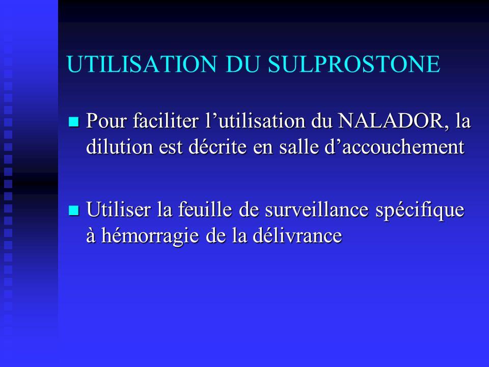UTILISATION DU SULPROSTONE Pour faciliter lutilisation du NALADOR, la dilution est décrite en salle daccouchement Pour faciliter lutilisation du NALAD