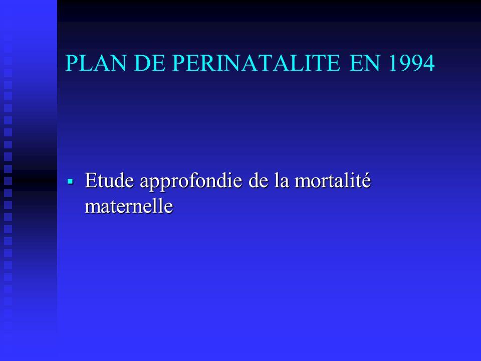 PLAN DE PERINATALITE EN 1994 Etude approfondie de la mortalité maternelle Etude approfondie de la mortalité maternelle