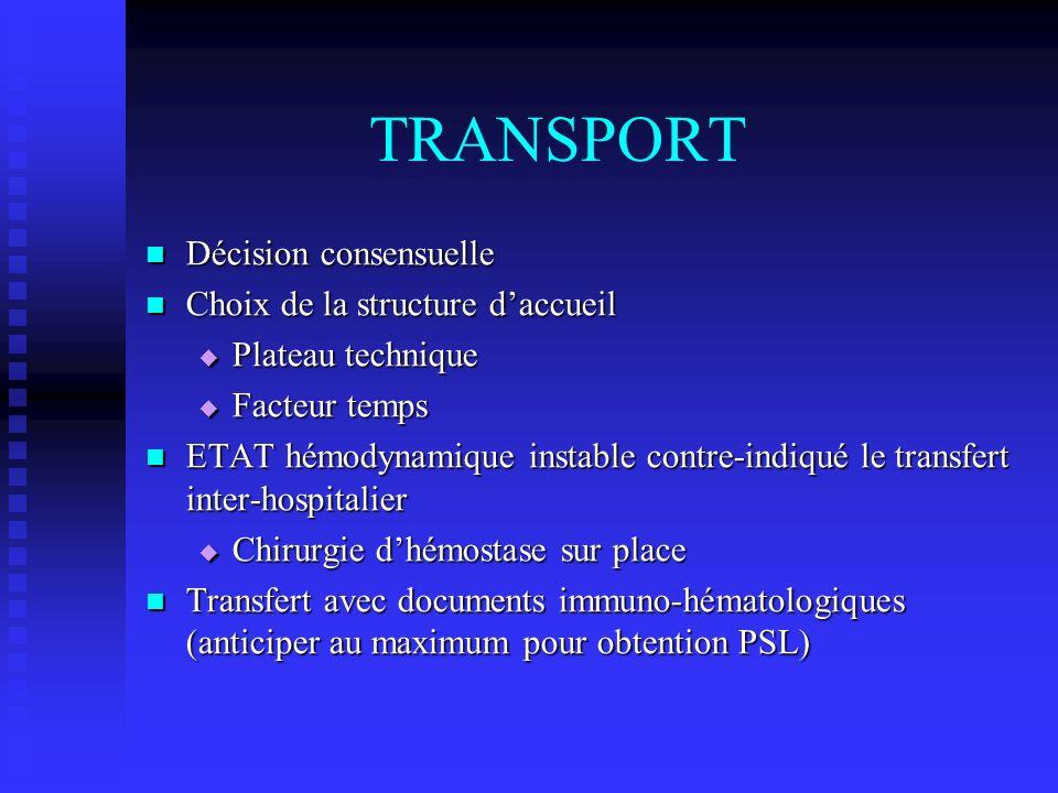 TRANSPORT Décision consensuelle Décision consensuelle Choix de la structure daccueil Choix de la structure daccueil Plateau technique Plateau techniqu