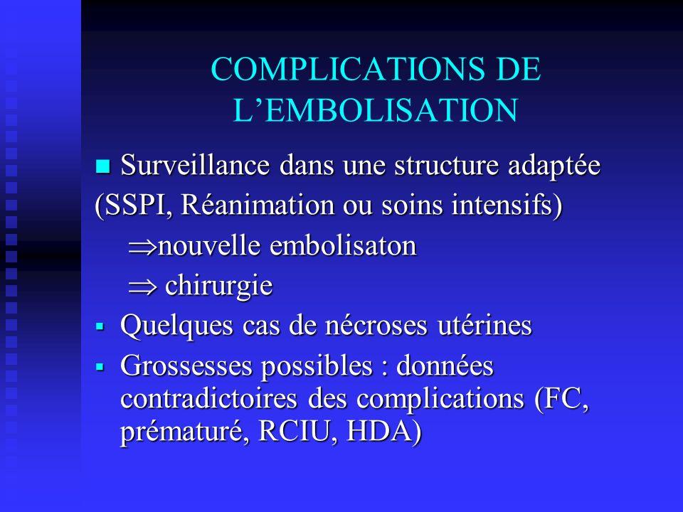 COMPLICATIONS DE LEMBOLISATION Surveillance dans une structure adaptée Surveillance dans une structure adaptée (SSPI, Réanimation ou soins intensifs)