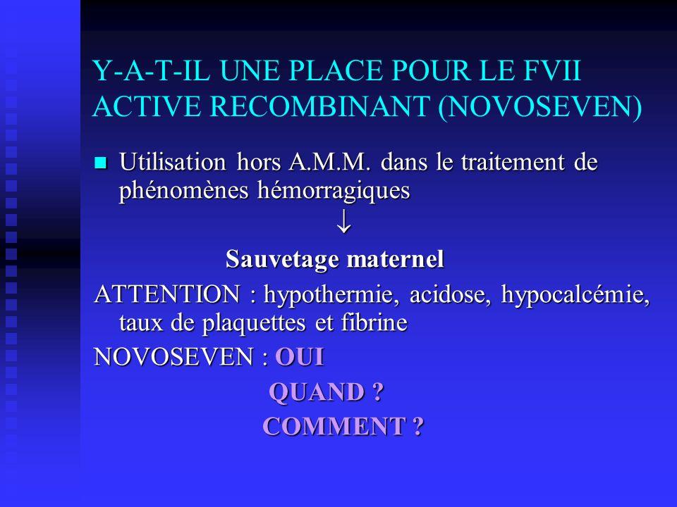 Y-A-T-IL UNE PLACE POUR LE FVII ACTIVE RECOMBINANT (NOVOSEVEN) Utilisation hors A.M.M. dans le traitement de phénomènes hémorragiques Utilisation hors