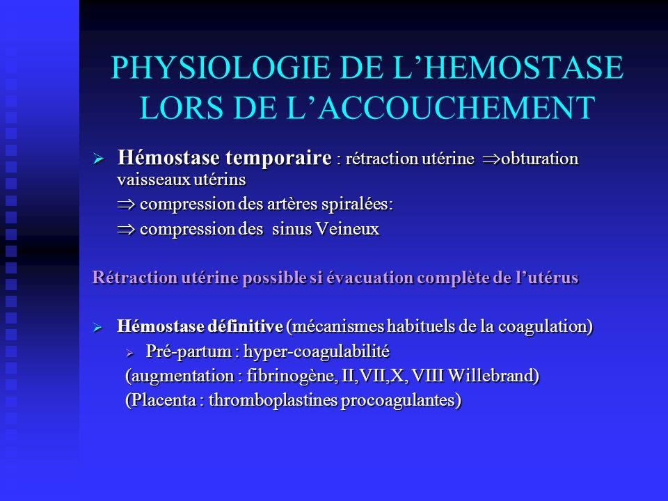 TRAITEMENT CIVD I) Substitutifs seuls recommandés en obstétrique PFC 10 à 15 ml/kg PFC 10 à 15 ml/kg Plaquettes </=30 000 Plaquettes </=30 000 Fibrinogène 0.5 g pour 10kg Fibrinogène 0.5 g pour 10kg PPSB = 0 PPSB = 0 II) Spécifiques Antithrombotique Antithrombotique Antifibrinolytiques Antifibrinolytiques Prothrombotique (FV II a recombinant 50ug/kg) Prothrombotique (FV II a recombinant 50ug/kg)